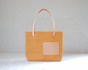 Tote bag T103/ leather handles , copper rivet / shopper bag