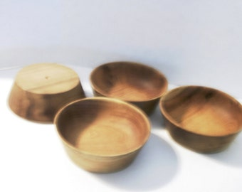 Vintage Wood Salad Snack Bowls 1950 Era Wood Lathe Handcrafted Solid Hardwood Maple Salad Bowl Wood Grain Accent Made In USA Hand Made Bowls