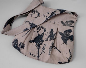 Grey Black Bird Bag Print Bag - Zippered Top -  3 slip pockets - Key Fob - Adjustable Strap