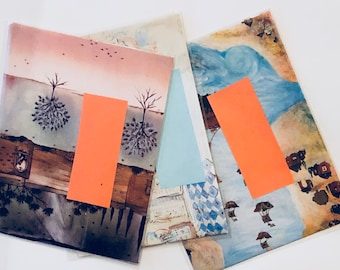 Three Handmade Envelopes - Tree and Sky Theme