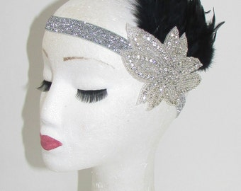 Black & Silver Feather Vintage Headpiece 1920s Great Gatsby Flapper Headband 263