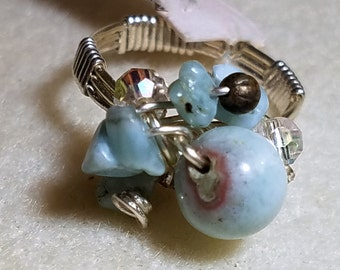 GR43 Larimar cluster ring, silver wire, size 7