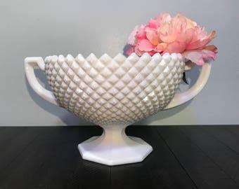 Vintage White Milk Glass Compote | Westmoreland | Pedestal Bowl | Diamond Pattern
