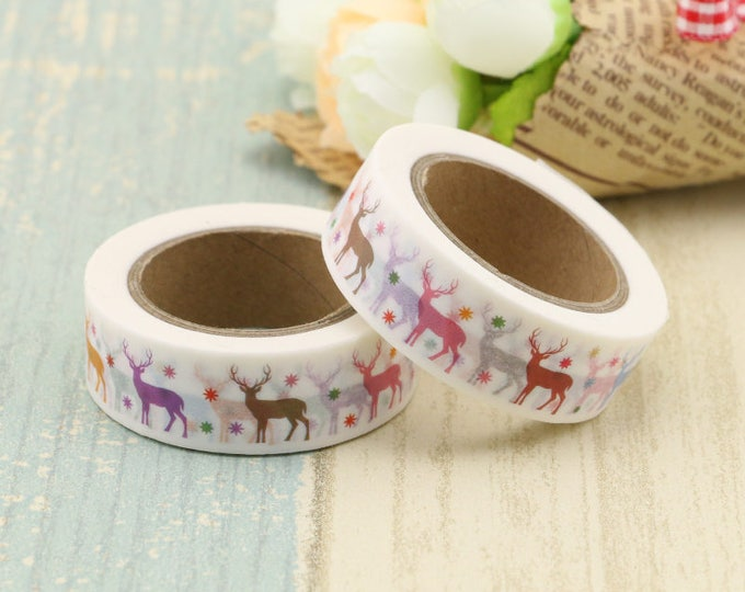 Washi Tape - Christmas Washi Tape - Reindeer washi Tape - Paper Tape - Planner Washi Tape - Washi - Decorative Tape - Deco Paper Tape - Deer