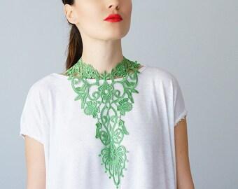 Green NecklaceVenise Lace Necklace Lace Jewelry Bib Necklace Statement Necklace Body Jewelry GiftCustom/ GREZZANE