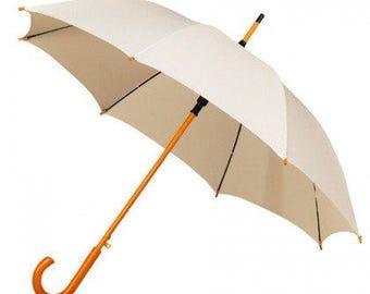 Wedding Umbrella/ Parasol With Wooden Handle - Bride, Wedding, Groom, Bridesmaid. Ivory wedding umbrella, white wedding umbrella