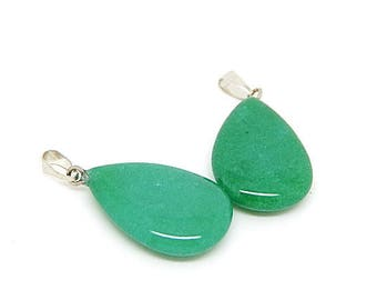 1 pendant drop green jade and brass 28x17mm