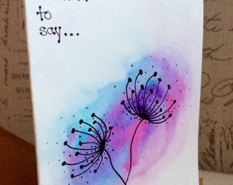Windy flowers handpainted watercolour card with envelope