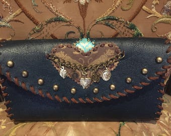 Crossbody bag, navy and brown, flaming heart patch, studs, chain with relic charms