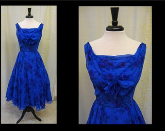 Vintage 1950s Dress - Bold Royal Blue Rose Print Silk Chiffon 50s Party Prom Dress with Full Sweeping Skirt