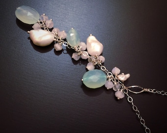 Spring Flowers Pearl Necklace, Romantic Anniversary Gift for Her, Rainbow Moonstone Necklace, Green Chalecodony, Sterling Silver, Bridesmaid