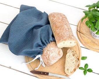 Blue Linen Bread Bag - Natural bread keeper - Drawstring bag