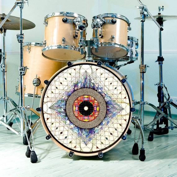 Graphic drum skin for bass snare and tom drums custom drum stickers for drum heads drum set aladnam watercolor ink art drummer gear