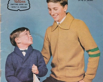 ON SALE Paton's Knitting Pattern No 684 for Boys & Teens age 5  to Teen years 24 to 37 inches - Vintage 1960s, Jumpers, Cardigans, Sweaters,