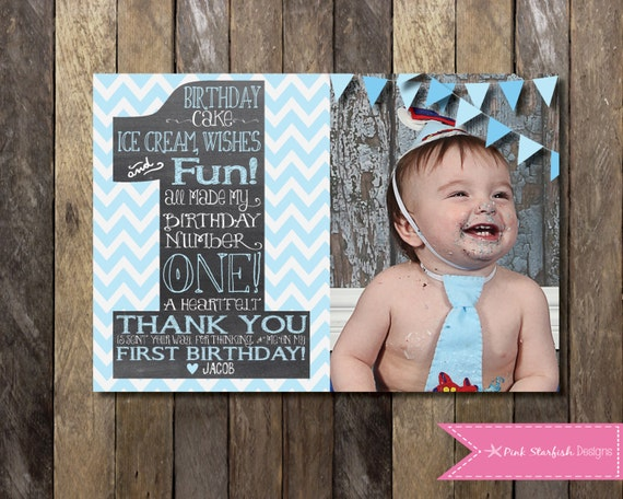 Chalkboard thank you card first birthday thank you the big chalkboard thank you card first birthday thank you the big one thank you note pink blue digital printable shabby chic thank you bookmarktalkfo Image collections