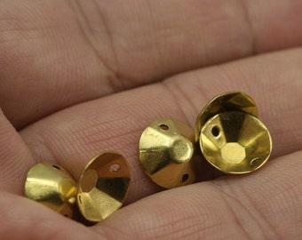 100 pcs 10 mm raw brass cone circle tag 2 hole raw brass connector raw brass charms ,raw brass findings 574R-33