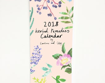 2018 Calendar, 2018 Wall Calendar, Botanical Calendar, Monthly Calendar, 12 Month Calendar, Floral Calendar, Herbal Remedies, Gift for Her
