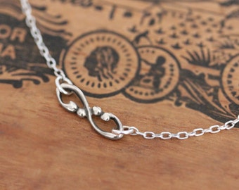 Silver infinity necklace, sterling silver infinity charm necklace, tiny infinity necklace, bridesmaid gift, anniversary gift, custom length