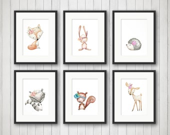 Woodland Nursery Decor - Fox Nursery Art - Baby Girls Nursery - Woodland Nursery Prints - Nursery Wall Art - Animal Nursery Print - Set of 6