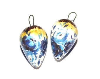 Ceramic Earring Charms Pair Rustic Stoneware Pottery Delft Blue