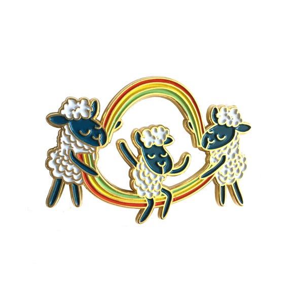 NEW ** Double Dutch Rainbow Cloud Sheep Enamel / Lapel Pin
