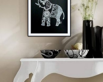 Original Drawing in Black and White of an Elephant Mehndi, Henna, Tattoo style.