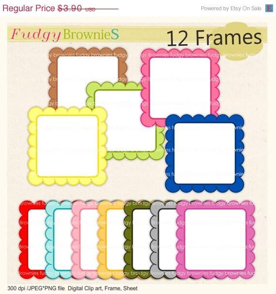 ON SALE Digital frame Frames clip art Square frame white