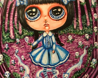 Creepy cute gothic original painting ghosts in bloom home decor