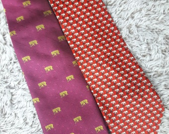 Lot 2 Elephant Neck Ties Pink Red Men's