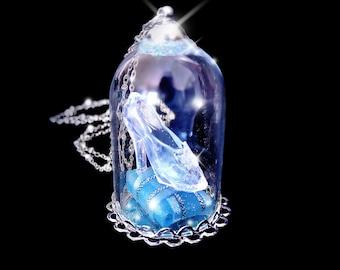 Cinderella jewelry cinderella glass slipper necklace blue cinderella necklace glass slipper necklace snowglobe necklace fantasy jewelry valentines day aloadofball Images