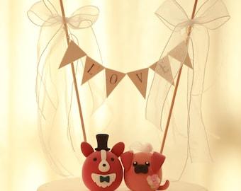 corgi  and pug wedding cake topper