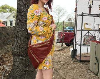 All Leather Ergonomic Crossbody with Multiple Pockets