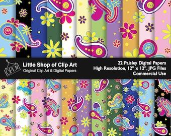 Paisley Digital Paper, scrapbook, vibrant colors, digital art, scrapbooking, background paper, backgrounds, fun design, commercial use
