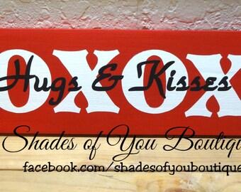XOXOXO - Hugs & Kisses! - Valentines Decor - Hugs and Kisses - Wood Sign - Customizeable Home Decor - Hand Painted Decor - Love Decor