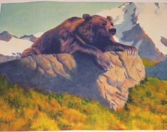 """Mens Geschenk / Fred Machetanz """"King of the Mountain"""" Limited Edition Alaskan Künstler Lithographie / tragen"""