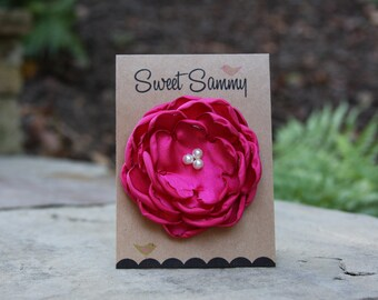 34 Colors Medium Satin Flower Pin, Fuchsia Satin Flower Pin