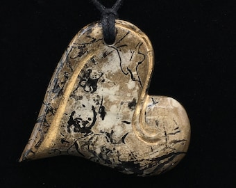 Horse Hair Raku Heart Pendant w/ Gold Accents
