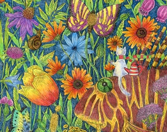 Journey is a magical garden. Picture print of the children's room interior.