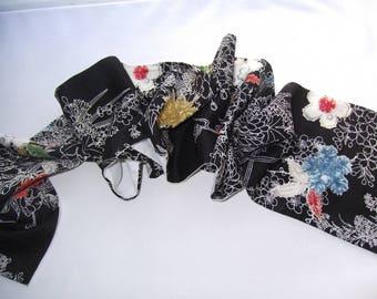 Japanese Kimono silk fabric Scarf.