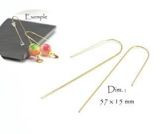 6 hooks earrings curve brass - Sun. : 57 x 15 mm - gold brass color