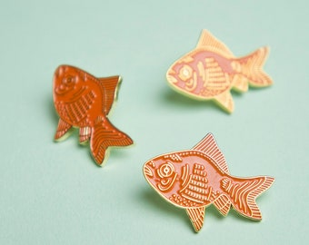 Goldfish Pin / Goldfish Enamel Pin / Cute Goldfish Pin / Soft Enamel Pin / Fish Pin / Animal Enamel Pin / Emaille Pin / Kawaii Pin Badge