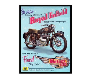 Royal enfield meteor 700 motorbike vintage style metal advertising wall plaque sign or framed picture frame