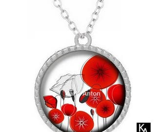 Silver round pendant + chain pattern necklace pretty poppy (1150) - nature, flower, floral, Red