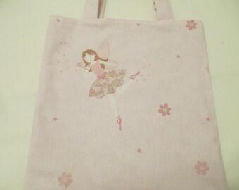 Girl's tote bag, dance bag, nursery bag in Laura Ashley pink Millie fabric