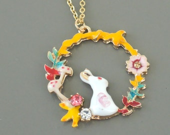 Vintage Inspired Necklace - Colorful Necklace - Bunny Rabbit Necklace - Enamel Necklace - Yellow White Pink Necklace - Handmade Jewelry