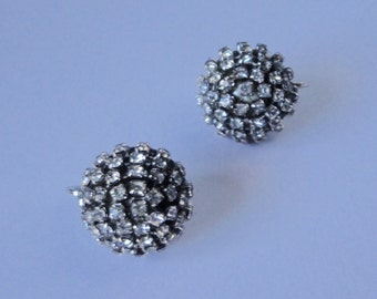 Vintage Silver tone with Multi-Rhinestones Classic Dome Earrings.