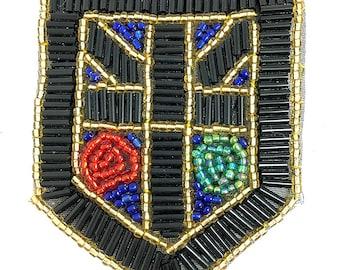 """Sale! 5 Pack Beaded Crest Shield Appliqué, 4"""" x 3""""  -B119"""