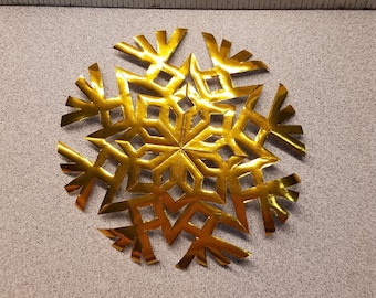 Metallic Gold Geometric Paper Snowflake