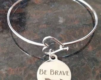 Be Brave Heart Arrow Love Bangle Bracelet