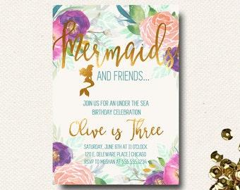 Mermaid Invitation Under the Sea Invitation Floral Birthday Invitation Mermaid Birthday Party Pool Invite Printable Printed Template
